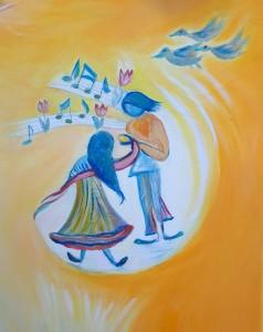 Joy & Joyanna. Detail from The Birth of Divine Spiral
